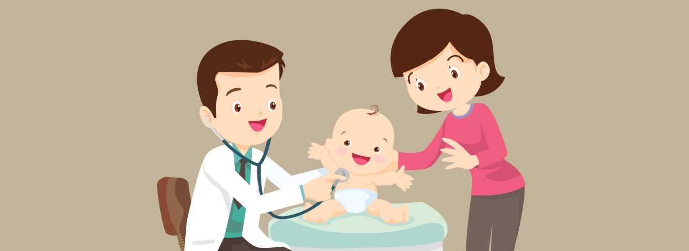 animated doctor with a baby and a woman smiling